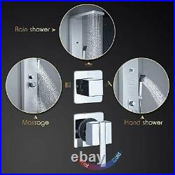 304 Stainless Steel Shower Panel Tower, Rainfall Shower + Body Jets + Brushed