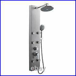 304 Stainless Steel Shower Panel Tower System, 8-inch Rainfall Shower Brushed
