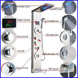 44'' Shower Panel Tower LED Rainfall Waterfall Massage System withJets & Faucet