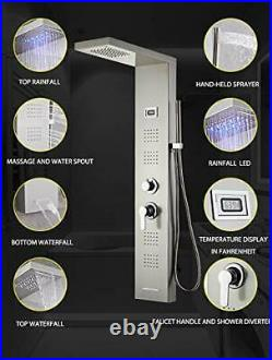 48 INCH LED Shower Panel Tower System, Waterfall Shower Faucet Set, 6 in 1