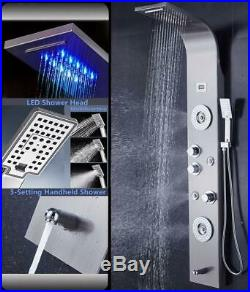 52'' Shower Panel Tower System Column LED Rain Waterfall Shower Head Lower Tub