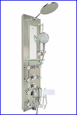 52 Thermostatic Hot Water Heating Shower Panel Tower Column Bathroom 8 Jets
