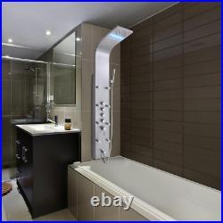 63 Modern Shower Tower Panel System Steel Rainfall Waterfall LED Single Handle