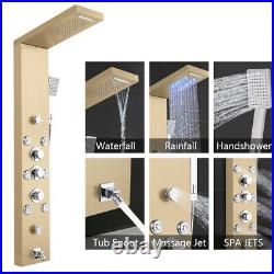 6 Function 57.6 Shower Panel Tower with Dual Shower Head Rain Massage System