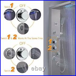 6-in-1 LED Rainfall Waterfall Shower Panel Tower Brushed Stainless Steel