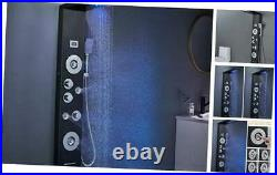 6-in-1 Rainfall Waterfall LED Shower Panel Tower Black, Shower Column with 4 Mi