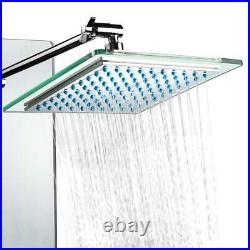 AKDY Shower Tower Panel 8-Jet Handshower Tempered Glass Adjustable Angle Silver