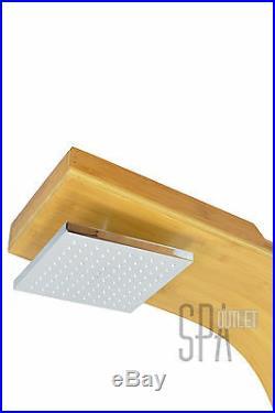 Bamboo Rainfall Overhead Shower Panel Tower Multi Function Bathroom Enclosures