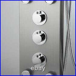 Bathroom 6 Massage Jets Mixer Wall Mount Sprayer Shower Panel Column Faucet Set