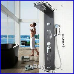Bathroom Black Rainfall Shower Column Massage Jets Sprayer Shower Panel Hand set