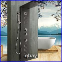 Bathroom Black Rainfall Shower Panel Column Massage Jets Sprayer Taps Wall Mount