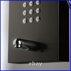 Bathroom Black Wall Mount Rain Shower Panel Column Massage Jets Sprayer Taps