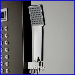 Bathroom Black Waterfall Rain Shower Column Massage Jet Sprayer Shower Panel Set