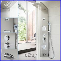 Bathroom Brushed Nickel Massage Jets Shower Panel Digital Column Faucet Set