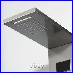 Bathroom Brushed Nickel Massage Shower Faucet Panel Thermostatic Column Tap Set