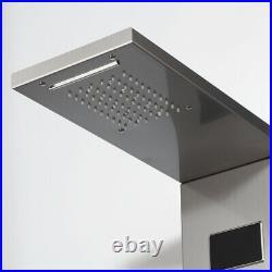 Bathroom Brushed Nickel Mixer Shower Panel Massage Jets LED Thermostatic Column
