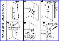 Bathroom LED Black/Nickel Shower Panel Column Digital Display Hand Held Faucet