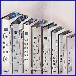 Bathroom LED Shower Panel Column with Hand Shower Temperature Screen Mixer Tap