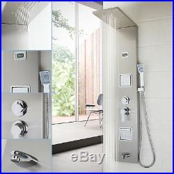Bathroom Shower Column Brushed Nickel Massage Jet Shower Panel Faucet Sets