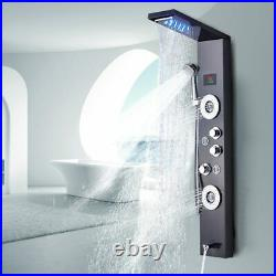 Bathroom Shower Faucet LED Panel Column Bathtub Mixer Tap With Temperature