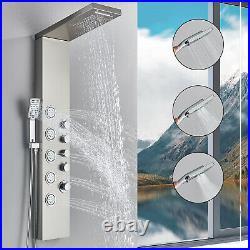Bathroom Shower Panel Column Tower Wall Massage Body Jets Twin Head Shower Mixer