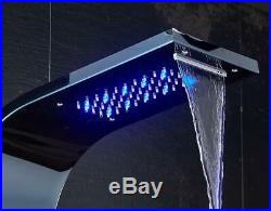 Bathroom Shower Panel Tower System LED Rainfall Shower Head with Body Jet Black