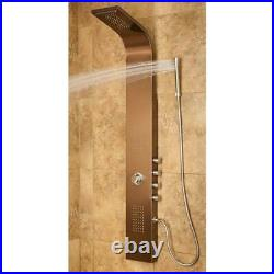 Bathroom Shower Tower Panel 2-Jets Handle Stainless Steel Scald Guard Bronze