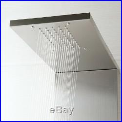 Bathroom Wall Mount Brushed Nickel Massage Jets Shower Panel Column Mixer Faucet