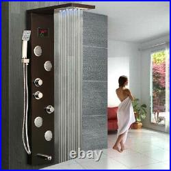 Black Bathroom Shower Panel Column Faucet System Mixer LED Wall Mounted Taps