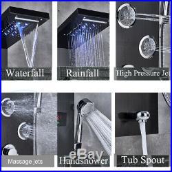 Black Brushed Shower Panel Tower LED Rain Waterfall Massage Body System Jets