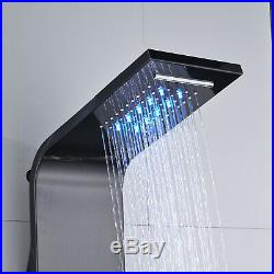 Black Colors Shower Panel Tower LED Rain Waterfall Massage System Mixer Tap