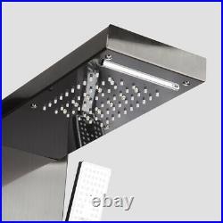 Black Digital Display Shower Panel Column LED Rain Waterfall Shower Mixer Unit