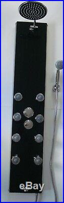 Black Glass Thermostatic Shower Tower Panel, 8 Jets, Handheld & Bath Spout 341n