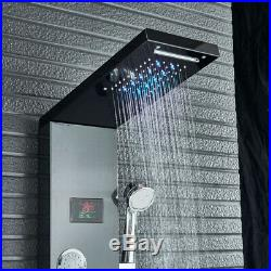 Black LED Shower Panel Column System Tower Temperature Screen with Shower Hand