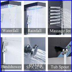 Black LED Shower Panel Tower Column with Massage Body Jets Shower Tap Set Mixer