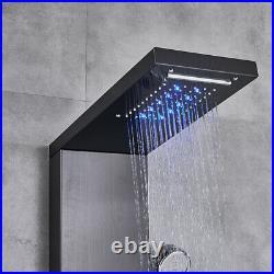 Black LED Shower Panel Tower Rain Shower System Massage Body Jets Faucet Mixer