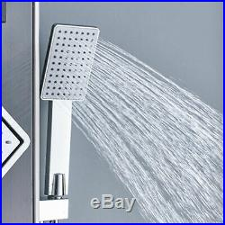 Black LED Shower Panel Tower Rain Waterfall With Massage Body System Jet Sprayer