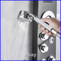 Black LED Stainless Steel Shower Panel Rain&Waterfall Tower Massage System Mix1