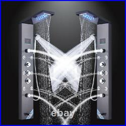 Black Shower Panel Column Tower LED Massage Rainfall Bathroom Mixer Unit New UK