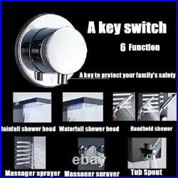 Black Shower Panel Column Tower Waterfall Massage Body Jets Bathroom Mixer Taps