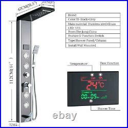Black Shower Panel Tower LED Rain Waterfall Body Jets Bath Shower Tap Set Mixer