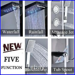 Black Shower Panel Tower LED Stainless Steel Rainfall Massage Jets Sprayer Body