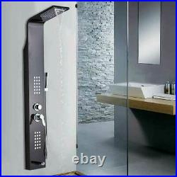 Black Shower Panel Tower Rain&Waterfall Massage Body System Jet Spray Mixer Taps