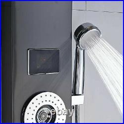 Black Shower Panel Tower System LED Rain&Waterfall Head Combo Massage Jets Mixer