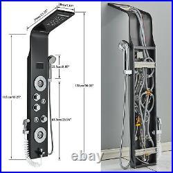 Black Shower Panel Tower System LED Rainfall&Waterfall Massage Body Jets Sprayer