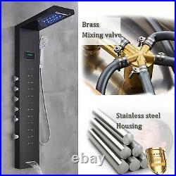 Black Shower panel Tower System LED Rain Head Combo Massage Body Jets Faucet