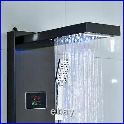 Black Shower panel Tower system LED Waterfall Rainfall Head Massage Jets Faucet