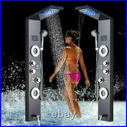 Black Shower panel stainless steel LED Rain&Waterfall Tower System Massage Jets