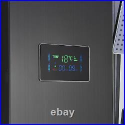 Black Stainless Steel Shower Panel Tower LED Rain Waterfall Massage Jet System