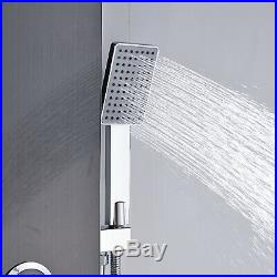 Black Stainless Steel Shower Panel Tower Rain&Waterfall Massage Body System Jets